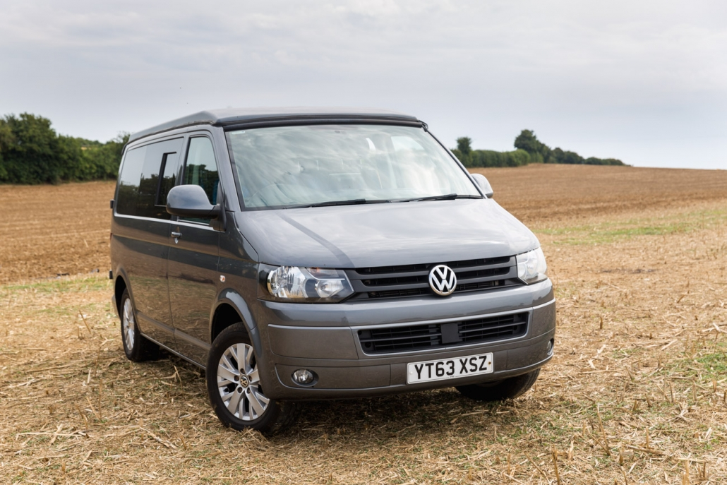 VW T5 campervan on a field